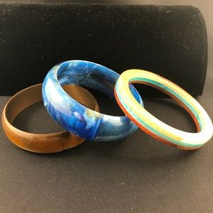 Vintage bangles set of three in blue and tan